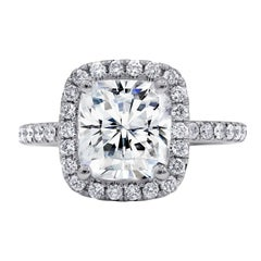 GIA Certified 2.36 Carat Cushion Cut Engagement Ring