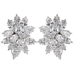 GIA Certified 23.63 Carat Diamond Platinum Cluster Ear Clips