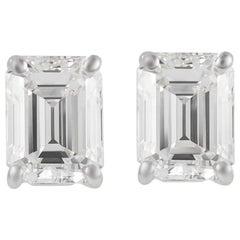 GIA Certified G VS1 2.37 Carat Emerald Cut Diamond Stud Earrings White Gold