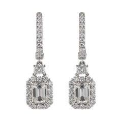 GIA Certified 2.37ct Emerald Cut Diamond Drop Earrings with Halo 18k White Gold