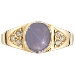 GIA Certified 2.38 Carat Cabochon Star Sapphire Diamond Yellow Gold Ring