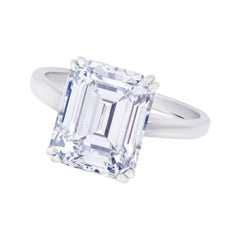 GIA Certified 2.38 Carat Emerald Cut Diamond Platinum Ring