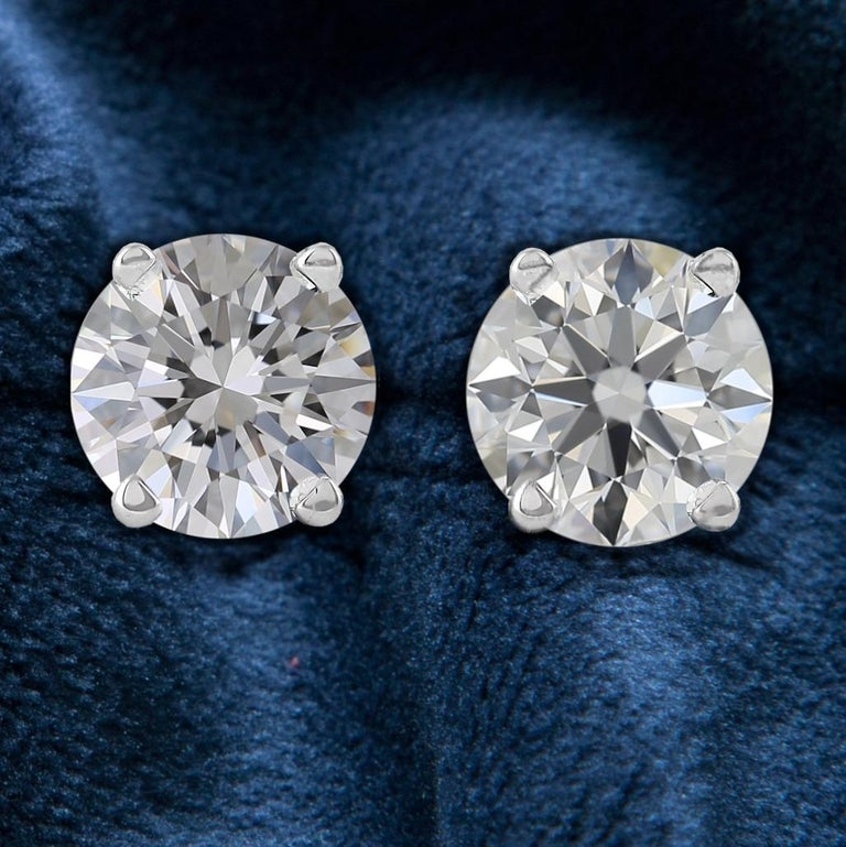 Modern Internally Flawless  D Color GIA Certified 2 Carat Diamond Studs  For Sale