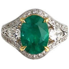 DiamondTown GIA Certified 2.38 Carat Oval Cut Emerald and Diamond Ring