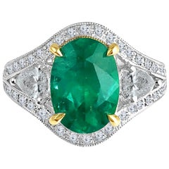 GIA Certified 2.38 Carat Oval Cut Emerald and Diamond Ring