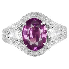 GIA Certified 2.38 Carat Oval Cut Purple-Pink Sapphire and Diamond Ring