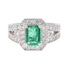 GIA Certified 2.39 Carat Emerald Diamond 18 Karat White Gold Ring