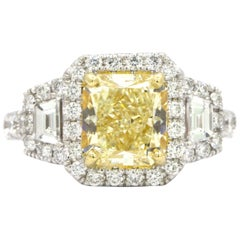 GIA Certified 2.39 Carat Fancy Yellow Radiant Cut Diamond Ring