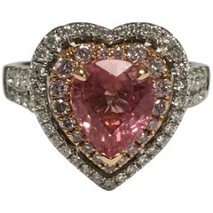 GIA Certified 2.39 Carat Padparadscha Sapphire Diamond Engagement Ring