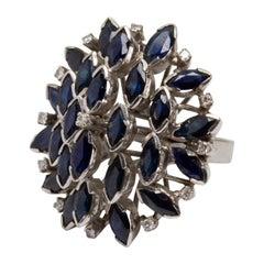 GIA Certified .24 Carat 18 Karat Gold 26 Blue Sapphire Ring