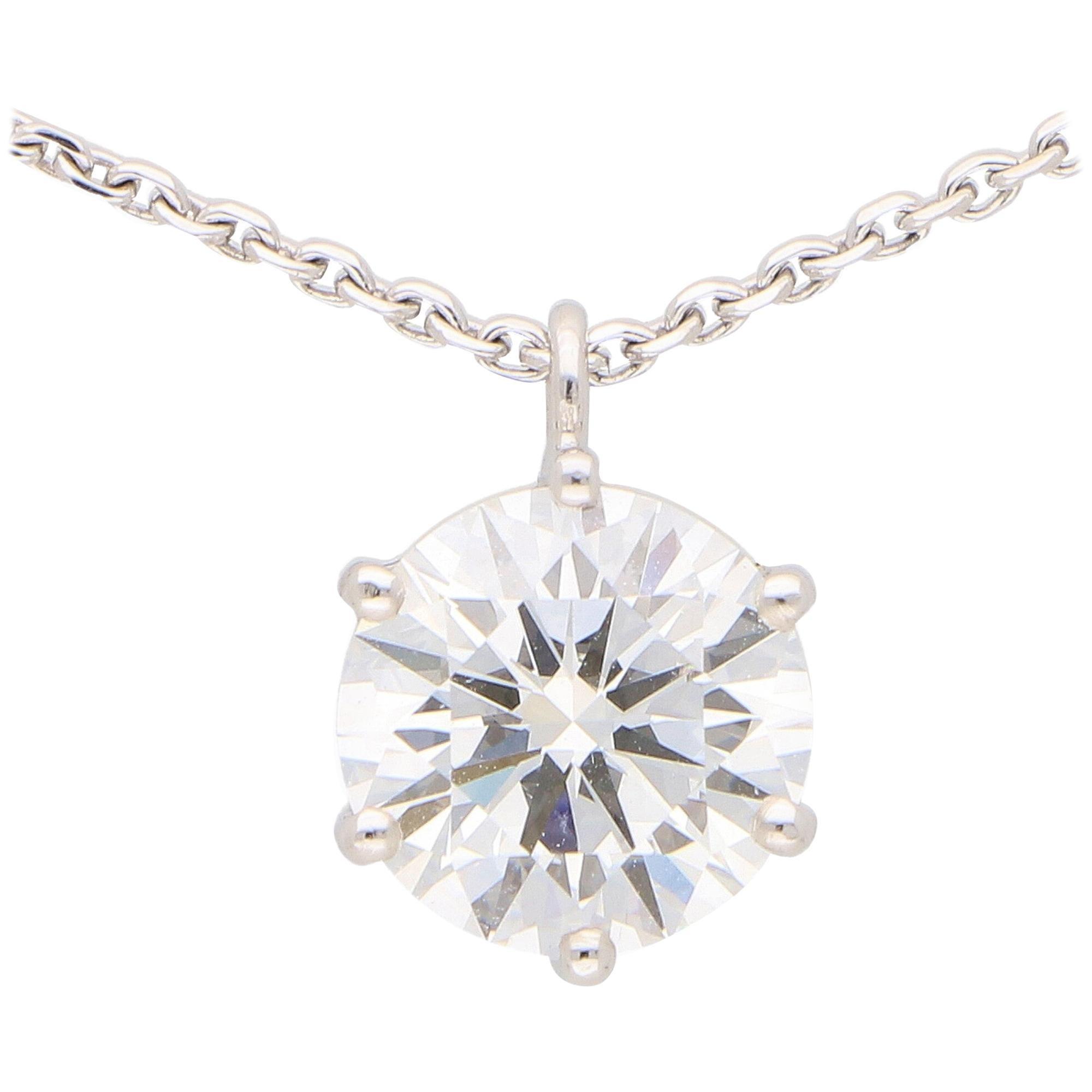GIA Certified, 2.40 Carat, D Color Single Diamond Pendant in 18 Karat White Gold