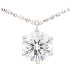 GIA Certified, 2.40 Carat, D Color Diamond Pendant Necklace in 18k White Gold