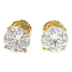 GIA Certified 2.40 Carat GH Color Round Brilliant Cut Diamond Studs