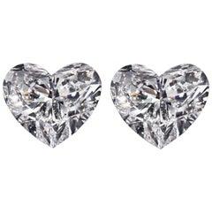 GIA Certified 2 Carat Heart-Shape Diamond Studs 18 Karat D/F Color VVS2 Clarity