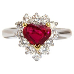 GIA Certified 2.40 Carat Natural Ruby Diamonds Ring 18 Karat Heart Cut