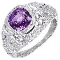GIA Certified 2.40 Carat Purple Sapphire Diamond Platinum Engagement Ring