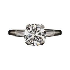 GIA Certified 2.40 Carat Round Brilliant Cut Diamond Platinum Ring
