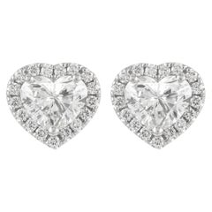 GIA Certified 2.41 Carat Heart Diamond with Halo Stud Earrings 18k White Gold