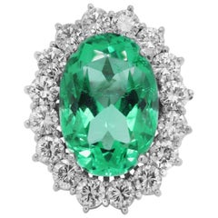 GIA Certified 24.13 Carat Oval Colombian Emerald and Diamond White Gold Ring