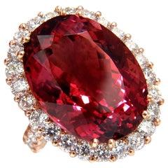 GIA Certified 24.13ct natural red tourmaline 3.00ct diamonds ring 18kt Rubellite