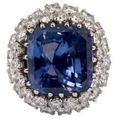 GIA Certified 24.18 Carat Color Change Sapphire and Diamond Ring