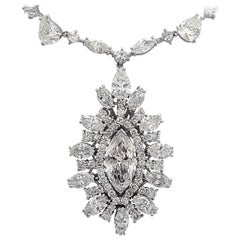 GIA Certified 2.42 Carat Marquise Diamond Necklace