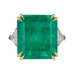 GIA Certified 24.25ct Columbian Emerald with Diamond 3-Stone Ring Platinum & 18k