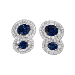 GIA Certified 2.43 Carat Royal Blue Sapphire Diamond Halo Gold Earrings