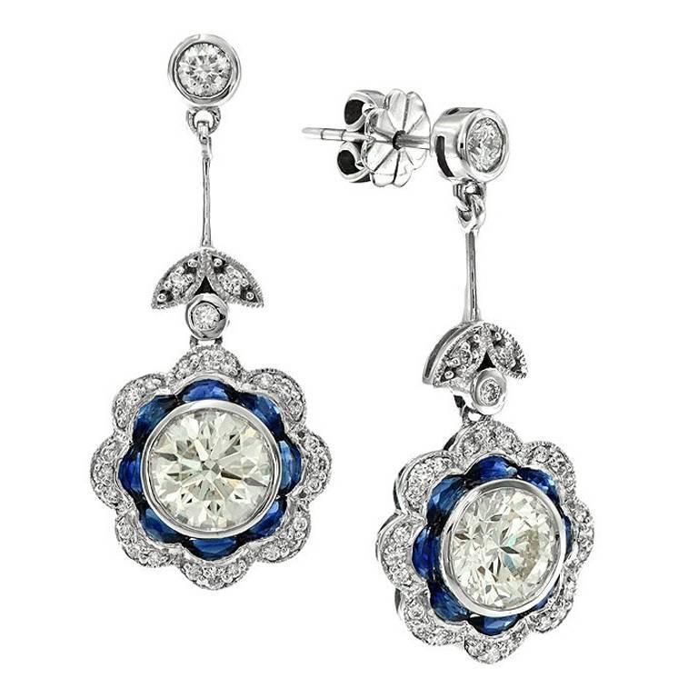 GIA Certified 2.44 Carat Diamond Blue Sapphire Floral Drop Earrings