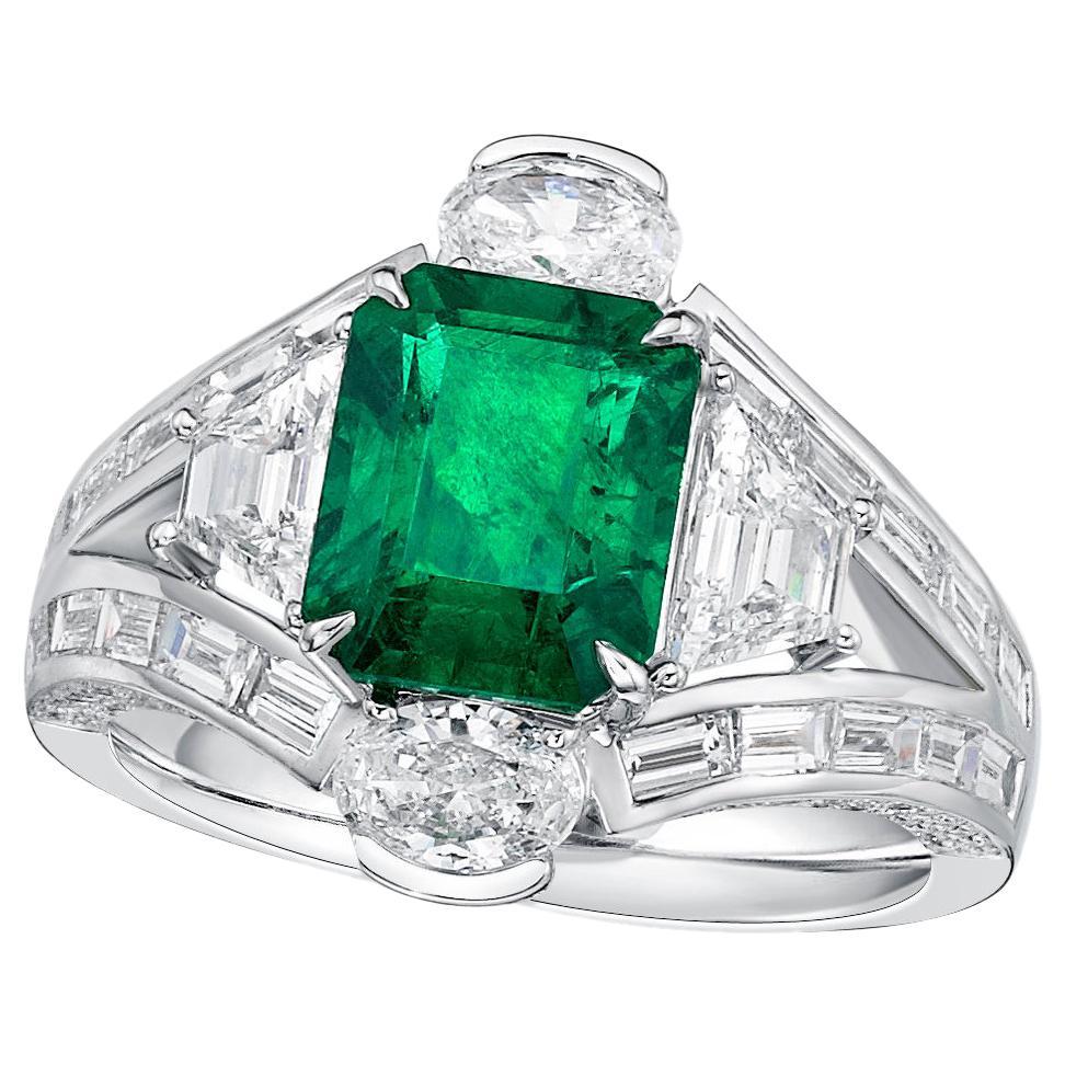 GIA Certified 2.44 Carat Zambia Emerald Diamond Ring