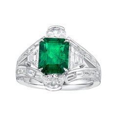 GIA Certified 2.44 Carat Zambia Emerald Diamond Ring