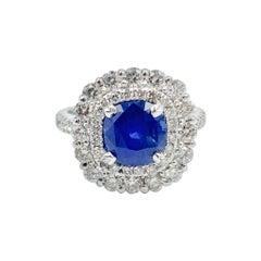 GIA Certified 2.440 Carat Sri Lankan Cornflower Blue Sapphire Ring