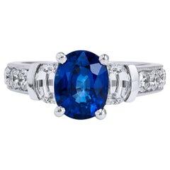 GIA Certified 2.45 Carat Blue Sapphire Diamond Ring Handmade