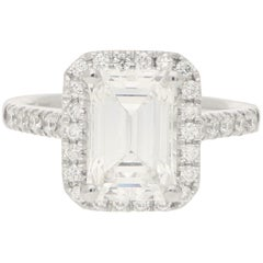 GIA Certified 2.45 Carat Emerald Cut Halo Cluster Engagement Ring in Platinum
