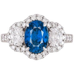 GIA Certified 2.45 Carat Oval Cut Ceylon Sapphire Ring by Diamond Town