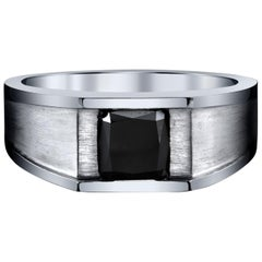 GIA Certified 2.45 Carat Radiant Fancy Black Men's Diamond Ring