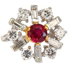 GIA Certified 2.45ct. Natural Ruby Diamonds ring 14kt Art Deco Ballerina Phase
