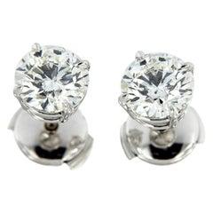 GIA Certified 2.46 Carat G SI XXX Platinum Diamond Stud Earrings