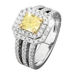 GIA Certified 2.47 Carat Fancy Light Yellow VVS2 VG/VG Diamond Ring