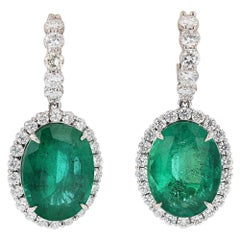 GIA Certified 24.88 Carat Oval Columbian Green Emerald and Diamond Earrings