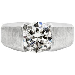 GIA Certified 2.49 Carat Round Diamond Solitaire Men's Ring