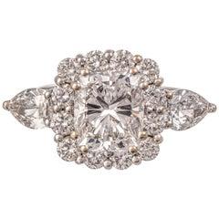 GIA Certified 2.5 Carat D Color Internally Flawless Cushion Cut Diamond Ring
