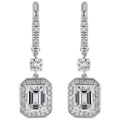 GIA Certified 2.5 Carat Emerald Cut Diamond Drop Earrings