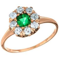 GIA Certified .25 Carat Emerald Diamond Rose Gold Victorian Engagement Ring