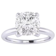 GIA Certified 3.24 Carat Cushion Diamond Ring E Color VS1 Clarity