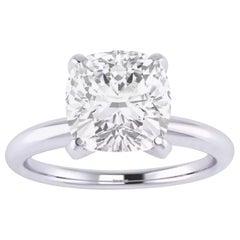GIA Certified 3.31 Carat Cushion Diamond Ring