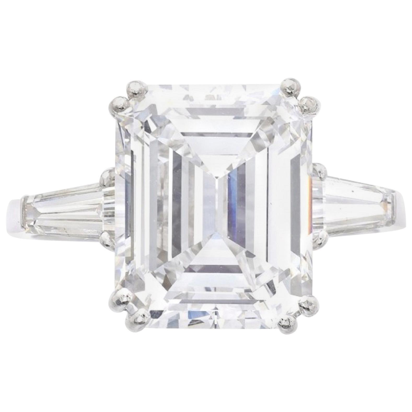 I FLAWLESS GIA Certified 2.50 Carat Emerald Cut Diamond Platinum Ring