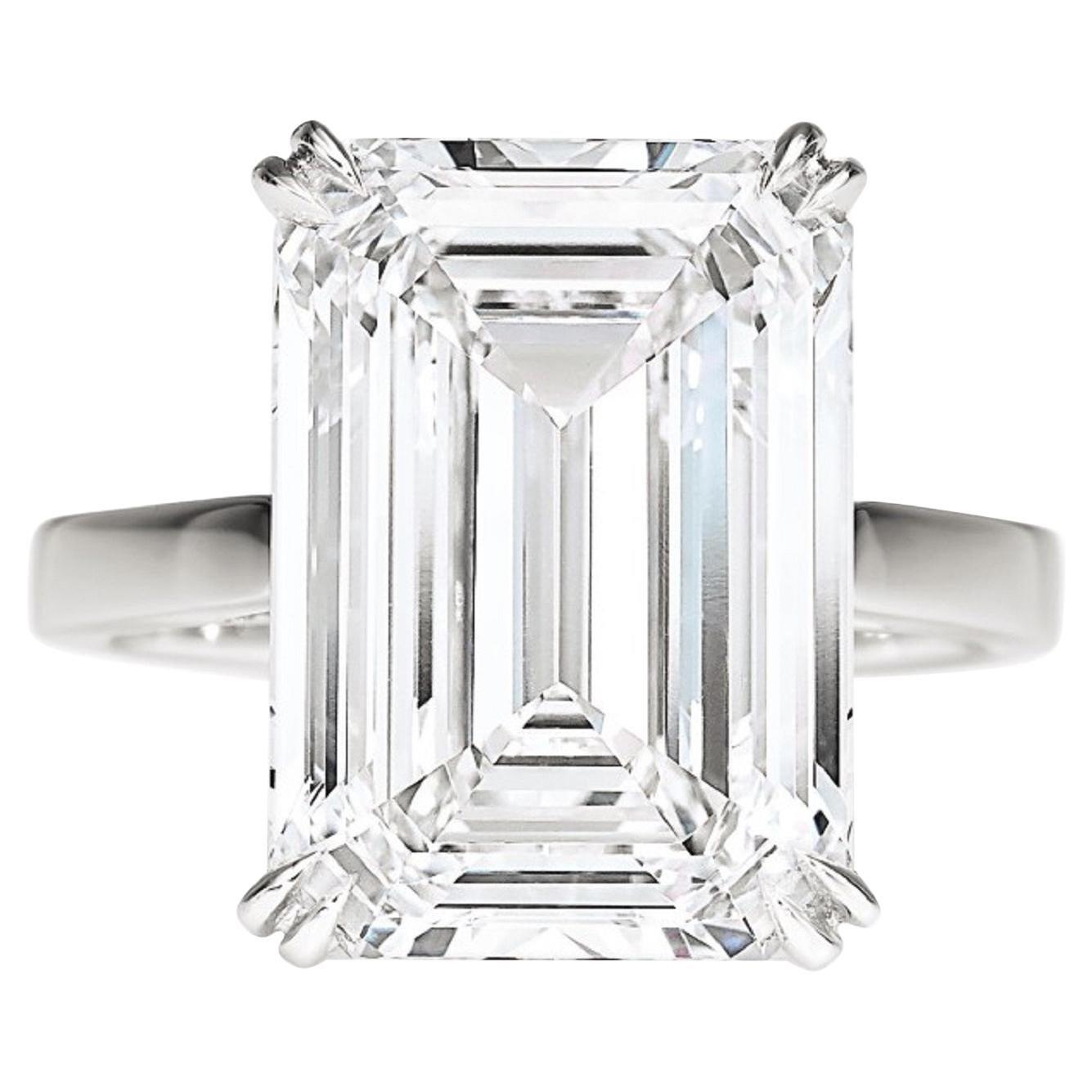 GIA Certified 2.50 Carat Emerald Cut Diamond Platinum Ring