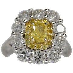 GIA Certified 2.50 Carat Fancy Intense Yellow Radiant Cut Diamond Ring