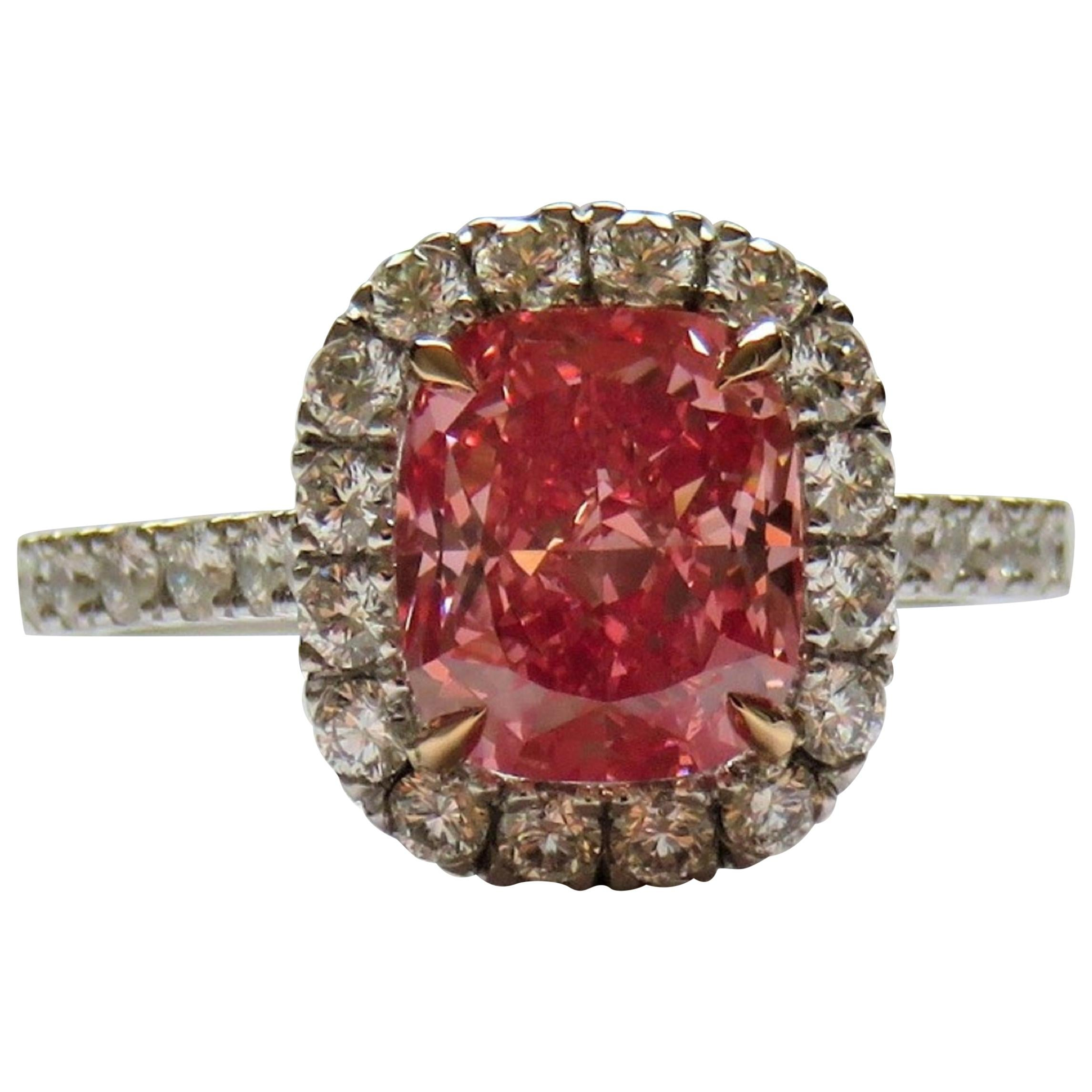 GIA Certified 2 Carat Fancy Vivid Orangy Pink Cushion Diamond Halo Ring